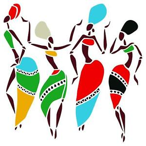 African Dancers Stencil Reusable Women Lady Dancers Ethnic Tribal Wall Painting