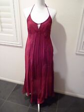 FREE PEOPLE maroon wine embroidered sequin backless halter long sheer dress SZ 6