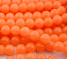 32pcs 8mm Round Glass Crystal Pearl Loose Spacer Beads ORANGE  Red