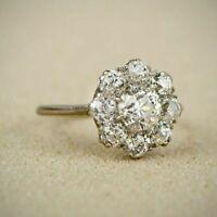Vintage 1.00 Ct Round Cut Diamond Cluster Engagement Ring 14K White Gold Finish