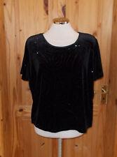 ROMAN  black velvet burnout glitter sparkle short sleeve stretch tunic top M-L16