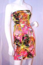 H&M 2012 Neon Pink Palm TROPICAL Strapless ZIP Fitted DRESS Caribbean 4 / 34