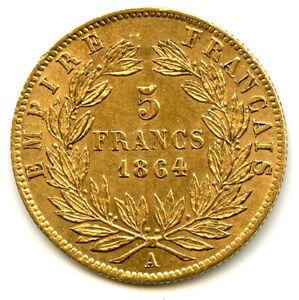 Napoléon III (1852-1870) 5 Francs Or Tête laurée 1864 A Paris