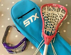 STX Crux 100 Pink Lacrosse Stick with blue bag and Goggles - Womens/Girls - 13 y