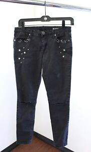 Blank NYC Intro Black Ripped Distressed Star Studded Skinny Jeans Size 27