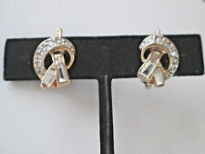 Vintage Nina Ricci Paris Cubic Zirconia Clip-On Earrings - In Original Box