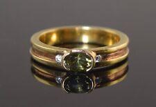 Vintage 18K YELLOW & ROSE GOLD DEMANTOID GARNET & DIAMOND RING SZ 8