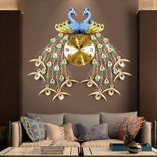 67*69cm 3d DIY Peacock Wall Clock Metal Modern Art Digital Home/office Decor AU