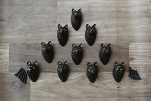 Vintage Old cast iron wolf face drawer door knob handles pull rustic 10 pcs