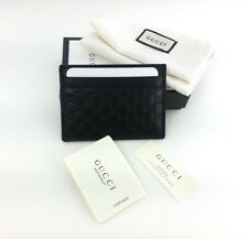 Authentic Gucci Micro Guccissima Black Leather Card Case Card Holder