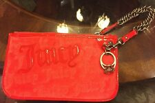 Juicy Couture Red Velour Wristlet/Purse w Diamond Ring Charm Excellent Condition