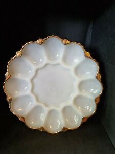 ANCHOR HOCKING - MILK GLASS EGG DISH WITH GOLD EDGING