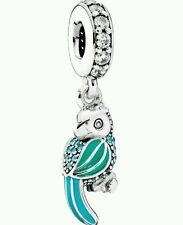 Authentic Pandora Tropical Parrot Teal & Clear Charm 791903ENMX
