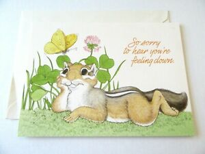 Vtg Greeting Card Current Inc Get Well Cute Chipmunk with Butterfly in Thistle