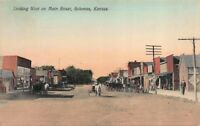 Hand Colored Postcard Looking West on Main Street in Solomon, Kansas~119838