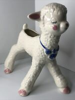 "Vintage Lamb Planter Nursery Easter Anthropomorphic 8"" X 8"" National Potteries"