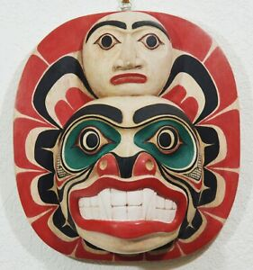 LARGE FIRST NATION STYLE BEAR/ MAN TOTEMIC PLAQUE ~ CANADIAN ABORIGINAL STYLE