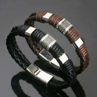 Mens Jungen Schwarz Leder Flocht Armband Armband Edelstahl Titan Haken