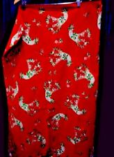 Christmas Tablecloth Square Red Pointsettias Holly 50 x 50 inches