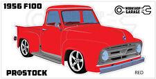 Ford F100 - 1955 - 1956 - Sticker Red