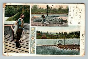 Pacific Northwest Multi View of Columbia River Fishing Salmon Vintage Postcard
