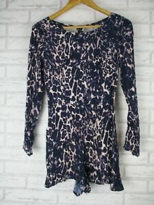 Tigerlily 8 womans purple leaopard print Playsuit Long sleeve round neck Rayon