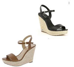 Women MK Michael Kors Jill Wedge Buckle Up Sandals Leather