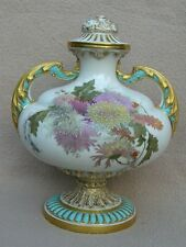 ANTIQUE ENGLISH ROYAL WORCESTER PORCELAIN VASE HAND PAINT FLOWERS CHRYSANTHEMUMS