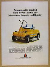 1968 International Harvester IH CADET 60 Riding Mower photo vintage print Ad
