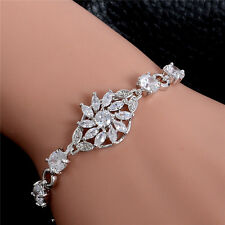 Silver Cubic Zirconia Flower Joint Chain Bracelet Buckle Bangle 19cm