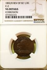 1802/O REV 1/2 CENT C2 DRAPED BUST NGC VG DETAILS