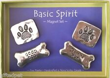 Handcrafted Pewter Paw Prints & Bones Boxed Magnet Set by Basic Spirit
