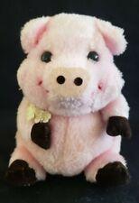 "Russ Plush ""Piggy"" Pink Pig w/ Brown Feet and Bouquet of Flowers"