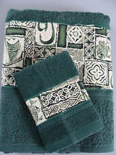 Towel & Washcloth Set green tapa NIP handcrafted bathroom
