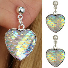Handmade Mermaids Fish Scale Heart Earrings Trendy Lady Ears Stud Jewelry GifJB