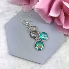 Silver Mermaid Scale Earrings, Long Drop, Sealife Beach Themed, Turquoise