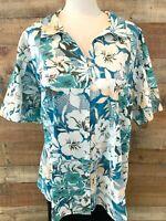 New~$40~ERIKA Women 2X Plus Blue/White-Floral Short-Sleeve Cotton+ Shirt Blouse