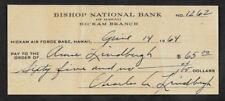 Charles Lindbergh Autograph & Check Reprint On Fine Linen Paper