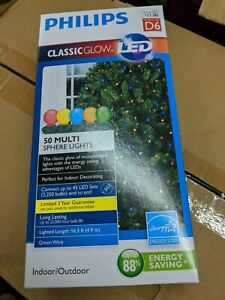 Philips 50 ct LED  Sphere String Lights Multi Color Classic Glow Green Wire