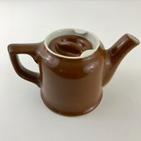 Vintage Hall Pottery Small Individual Teapot with Lid Brown & White