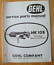 Original Gehl Hk 108 Hay King Mower Conditioner Service Parts Manual