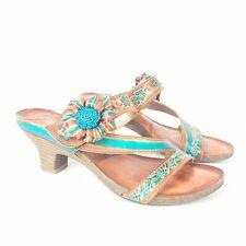 "L'ARTISTE SPRING STEP 6.5 37 Tan Turquoise Leather Sandal Heels 2"" Amethyst"