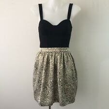 FOREVER NEW Size 6 Skater Dress Black Gold Metallic Sweetheart Party Short