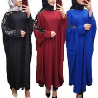 Islamic Muslim Women Batwing Sleeve Abaya Maxi Dress Robe Sequin Caftan Cocktail