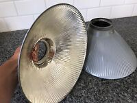Vtg Mercury Glass Shade Pair 2 Industrial X-ray Steampunk Silver