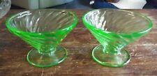 Vtg Set of 2 Anchor Hocking Spiral Green Vaseline Glass Low Sherbets 1928 EXC