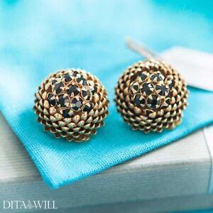 MIRIAM HASKELL Goldtone pine cone black rhinestone clip earrings- signed