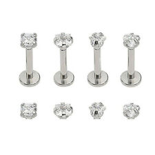 1x 16G CZ Gem Round Steel Barbell Tragus Cartilage Helix Stud Earring Piercing