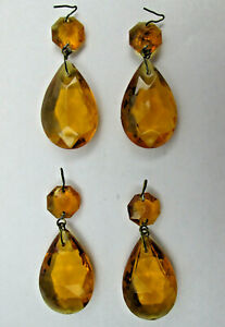 4 Vintage Molded Amber Glass Chandelier Tear Shaped Drops SOME SURFACE DEFECTS