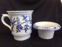 2 PcS  BLUE ONION DANUBE PATTERN STRAINER COFFEE TEA ???   UNKNOWN USE